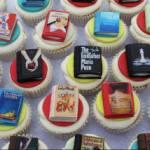 books, cupcakes, literary cake