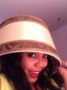 Lena rocking a lampshade...