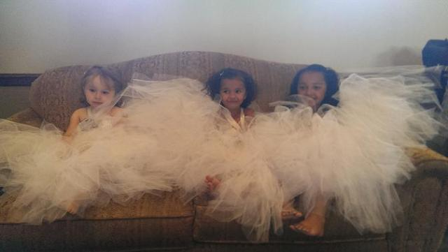 Have you ever in your life seen this much tulle on one couch?